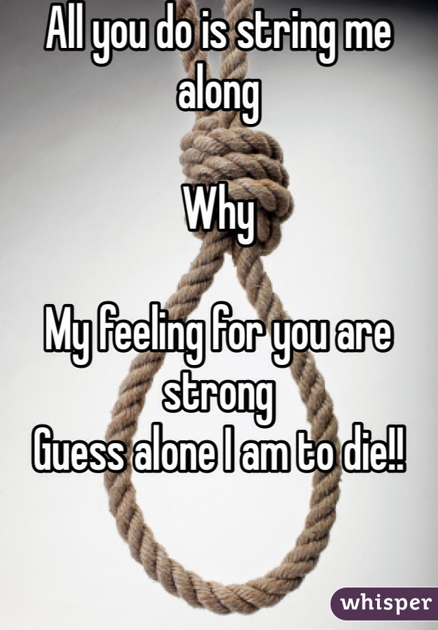 All you do is string me along   Why   My feeling for you are strong Guess alone I am to die!!