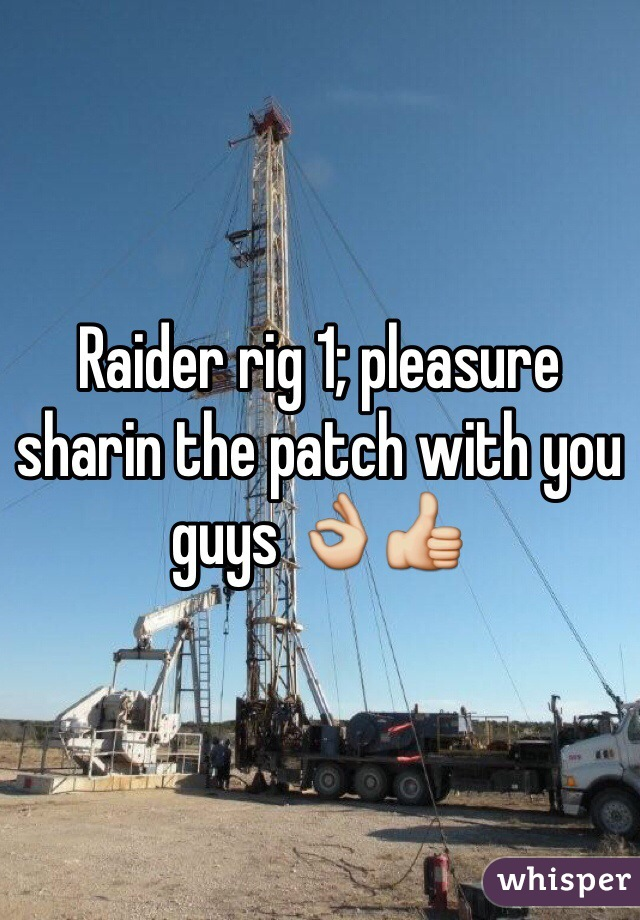 Raider rig 1; pleasure sharin the patch with you guys 👌👍