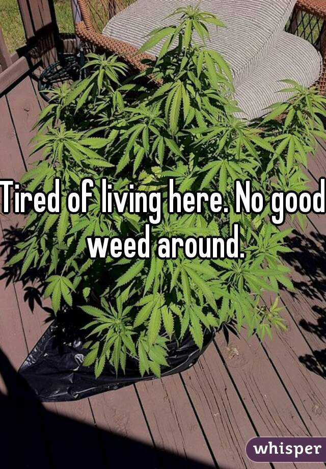 Tired of living here. No good weed around.