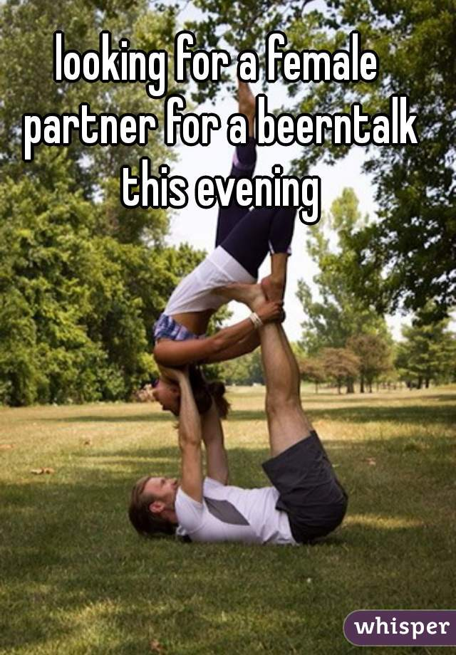 looking for a female partner for a beerntalk this evening
