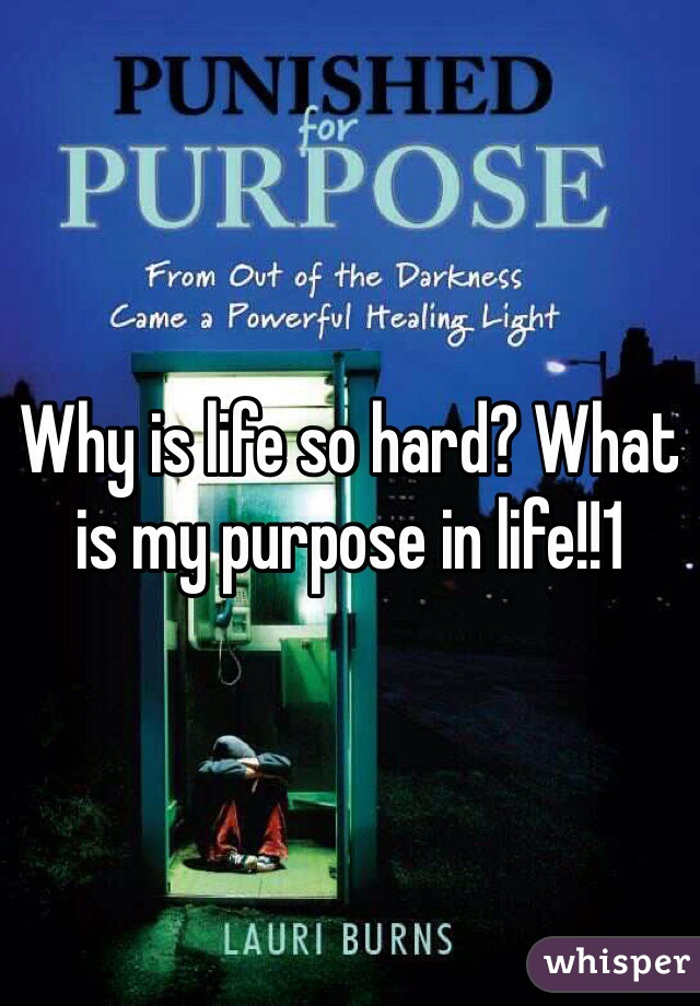 Why is life so hard? What is my purpose in life!!1