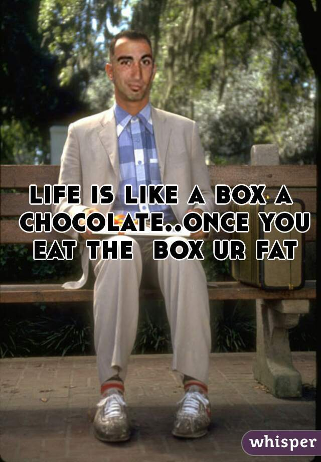 life is like a box a chocolate..once you eat the  box ur fat