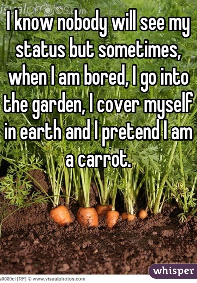 I know nobody will see my status but sometimes, when I am bored, I go into the garden, I cover myself in earth and I pretend I am a carrot.