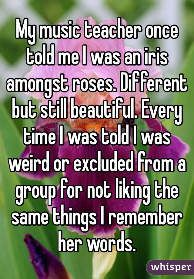 My music teacher once told me I was an iris amongst roses. Different but still beautiful. Every time I was told I was weird or excluded from a group for not liking the same things I remember her words.