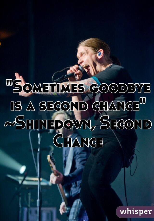 """""""Sometimes goodbye is a second chance"""" ~Shinedown, Second Chance"""