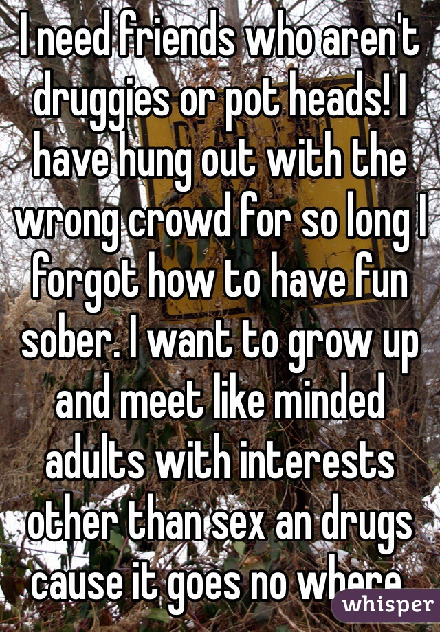 I need friends who aren't druggies or pot heads! I have hung out with the wrong crowd for so long I forgot how to have fun sober. I want to grow up and meet like minded adults with interests other than sex an drugs cause it goes no where.