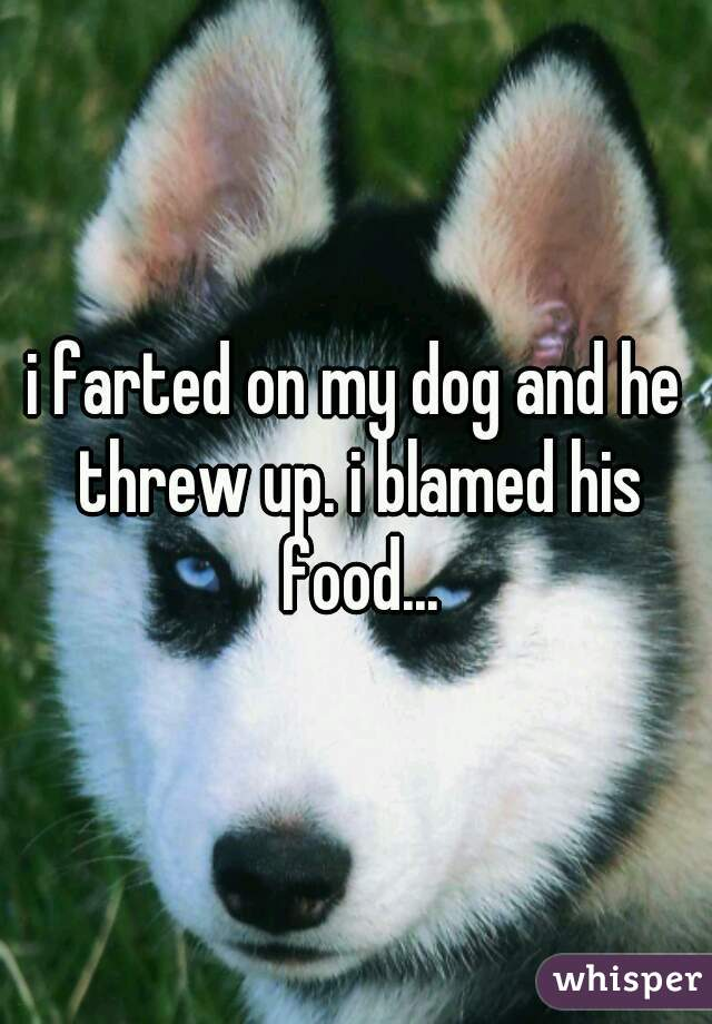 i farted on my dog and he threw up. i blamed his food...
