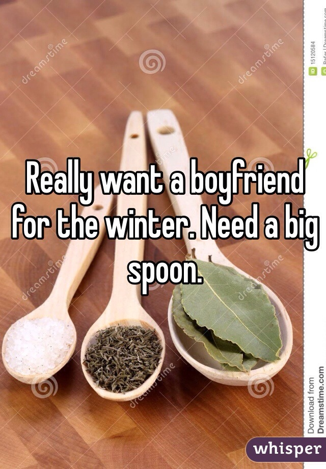 Really want a boyfriend for the winter. Need a big spoon.