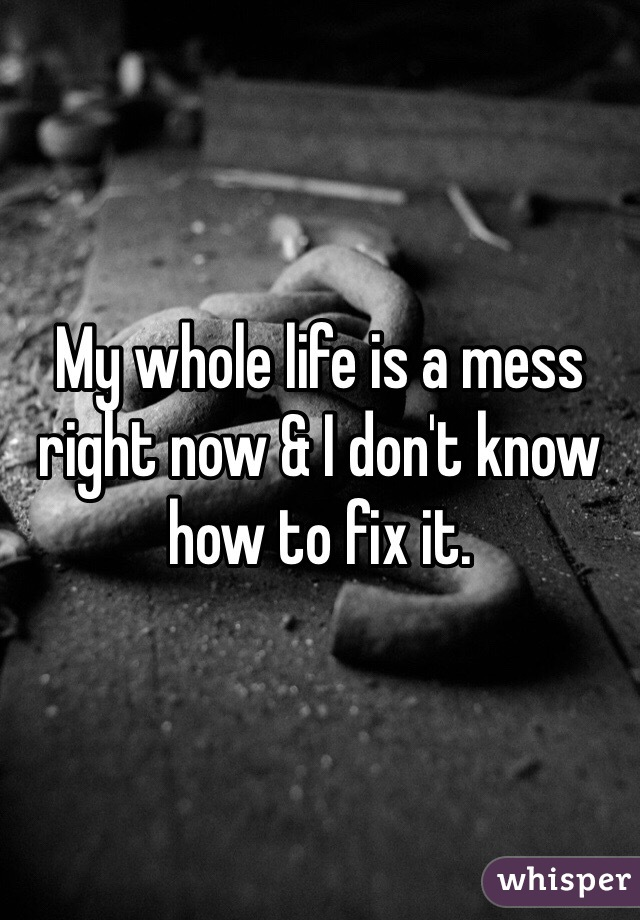 My whole life is a mess right now & I don't know how to fix it.