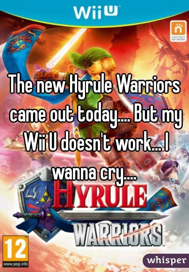 The new Hyrule Warriors came out today.... But my Wii U doesn't work... I wanna cry....
