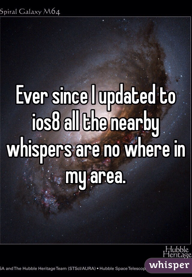 Ever since I updated to ios8 all the nearby whispers are no where in my area.