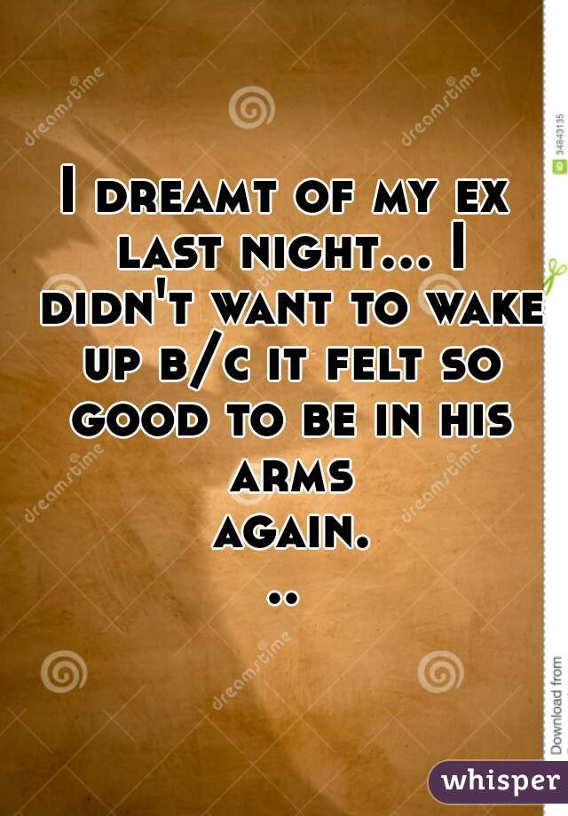 I dreamt of my ex last night... I didn't want to wake up b/c it felt so good to be in his arms again...