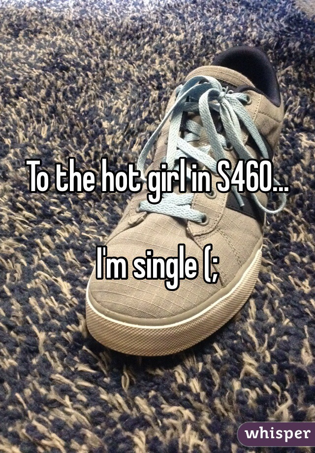 To the hot girl in S460...  I'm single (;
