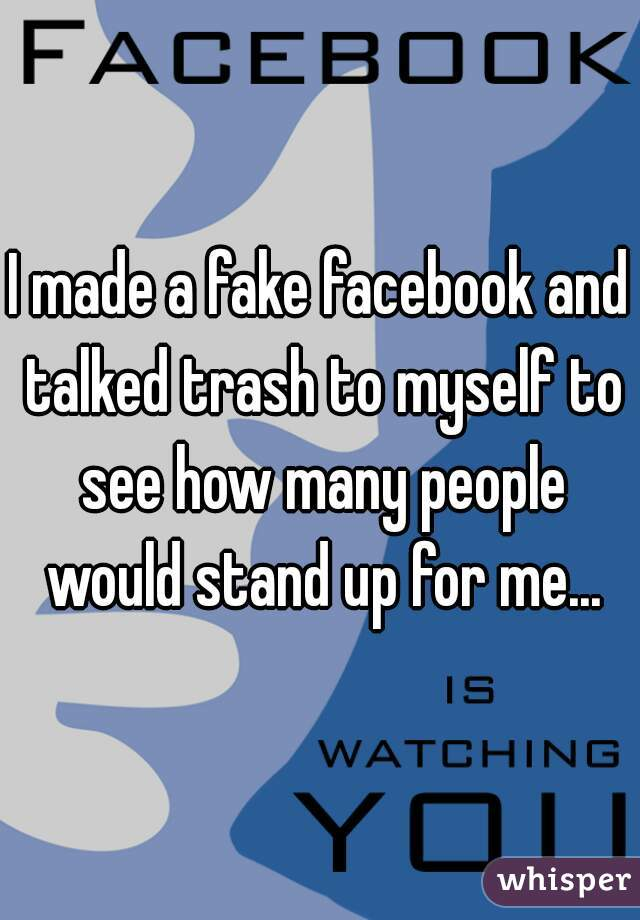 I made a fake facebook and talked trash to myself to see how many people would stand up for me...