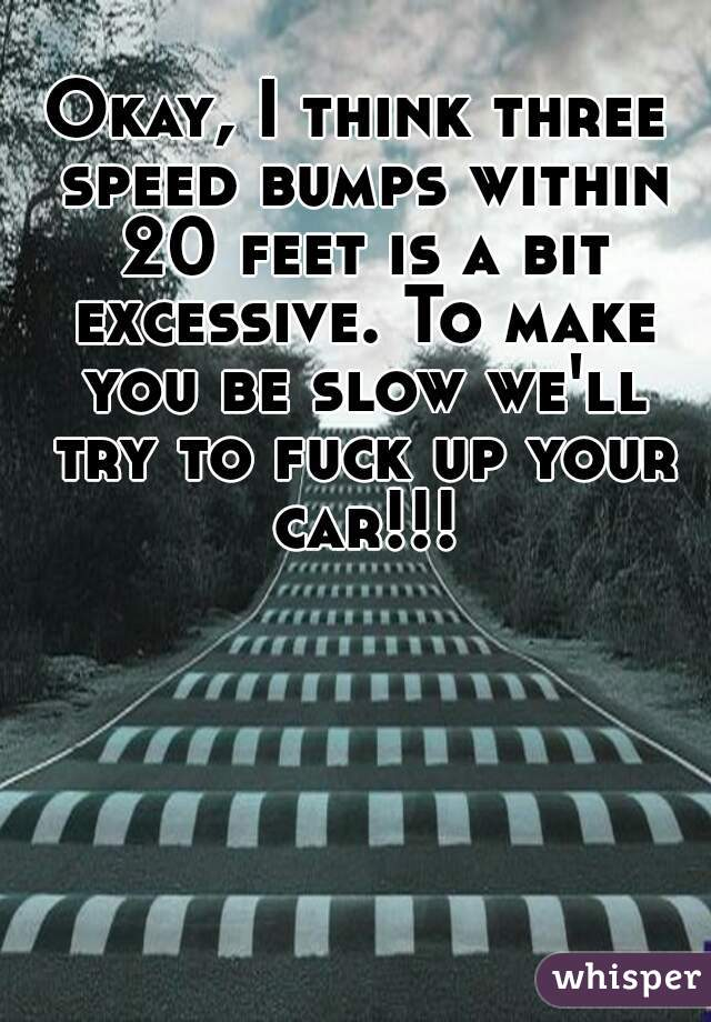 Okay, I think three speed bumps within 20 feet is a bit excessive. To make you be slow we'll try to fuck up your car!!!