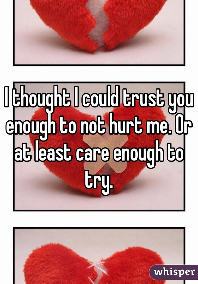 I thought I could trust you enough to not hurt me. Or at least care enough to try.