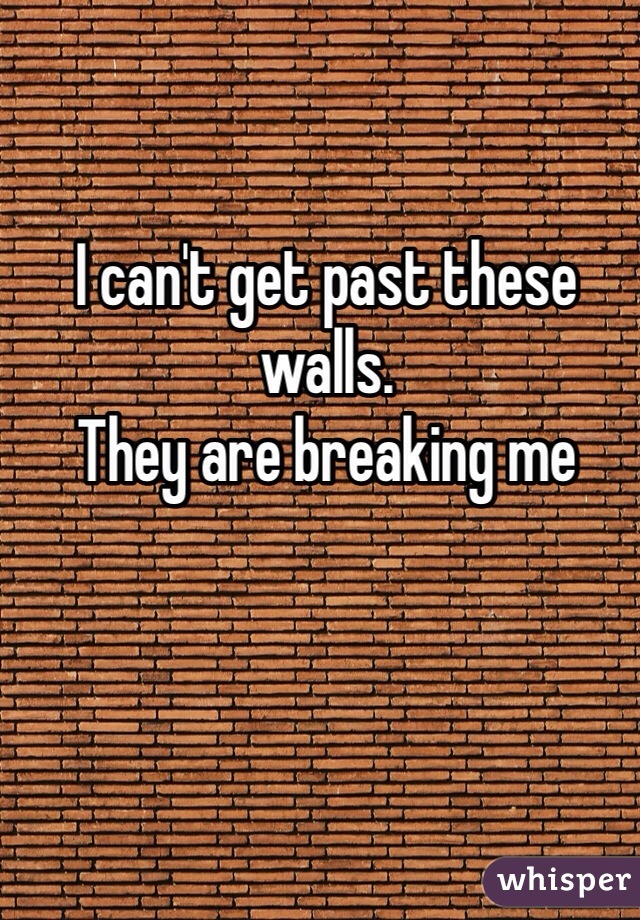 I can't get past these walls. They are breaking me