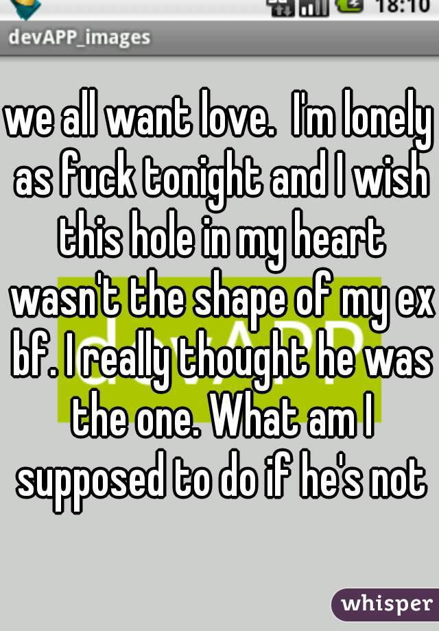 we all want love.  I'm lonely as fuck tonight and I wish this hole in my heart wasn't the shape of my ex bf. I really thought he was the one. What am I supposed to do if he's not