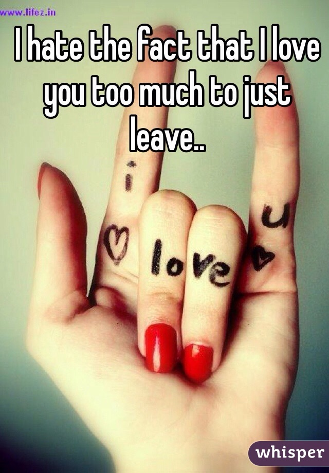 I hate the fact that I love you too much to just leave..
