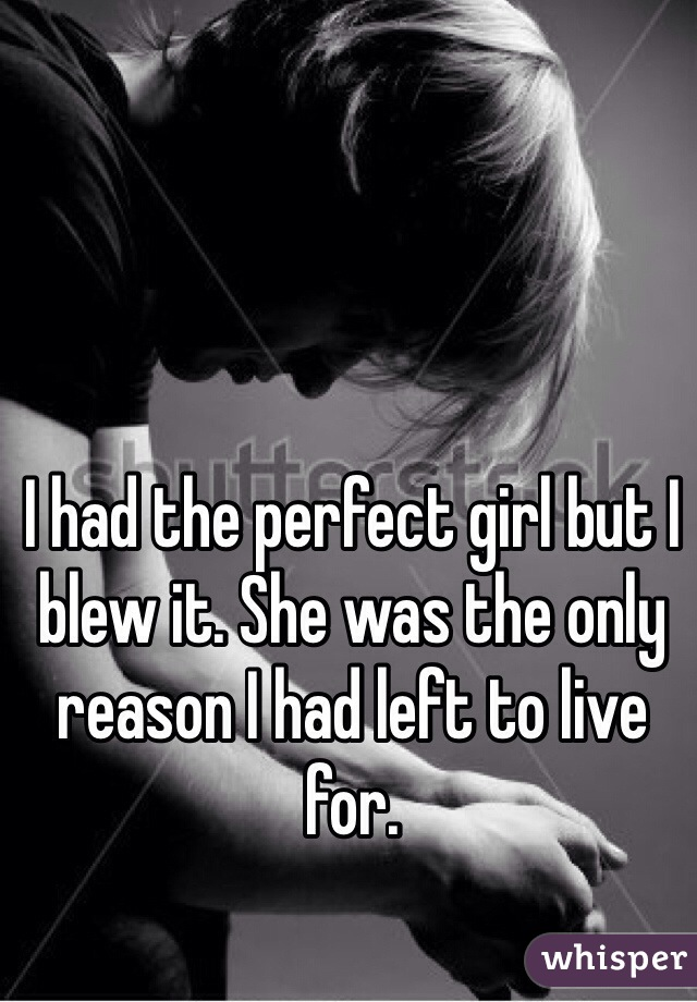 I had the perfect girl but I blew it. She was the only reason I had left to live for.
