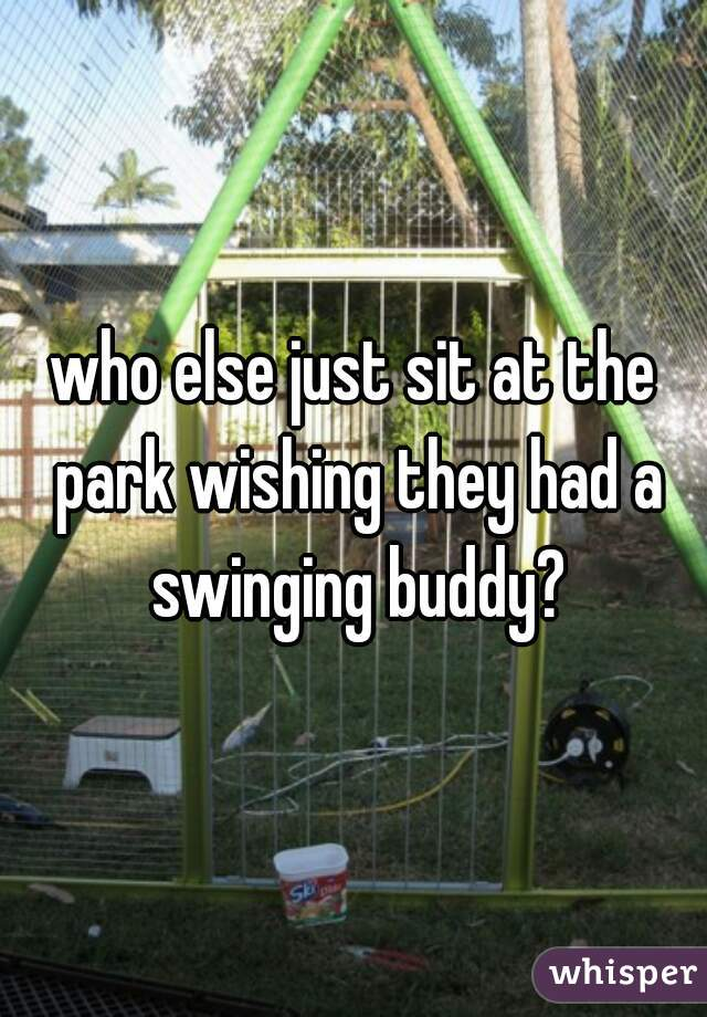 who else just sit at the park wishing they had a swinging buddy?