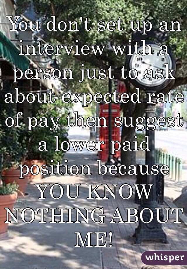 You don't set up an interview with a person just to ask about expected rate of pay then suggest a lower paid position because YOU KNOW NOTHING ABOUT ME!