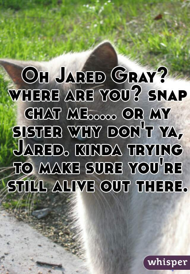 Oh Jared Gray? where are you? snap chat me..... or my sister why don't ya, Jared. kinda trying to make sure you're still alive out there.