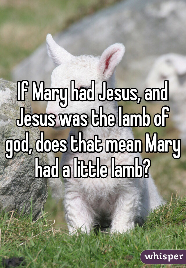 If Mary had Jesus, and Jesus was the lamb of god, does that mean Mary had a little lamb?