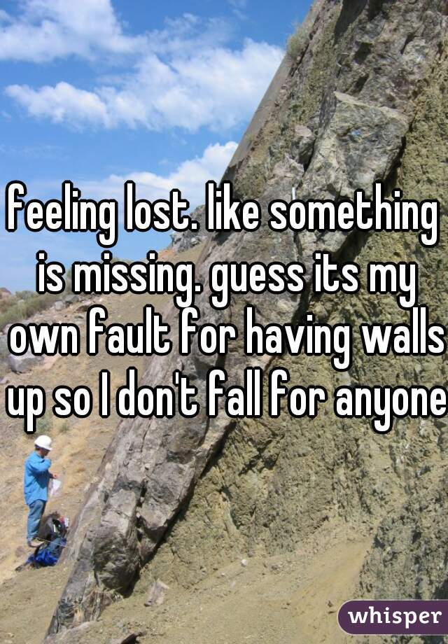 feeling lost. like something is missing. guess its my own fault for having walls up so I don't fall for anyone