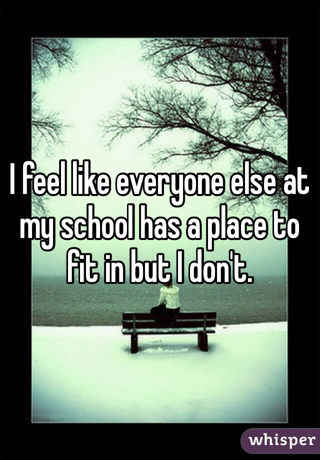 I feel like everyone else at my school has a place to fit in but I don't.