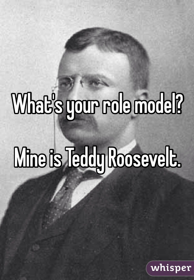 What's your role model?  Mine is Teddy Roosevelt.