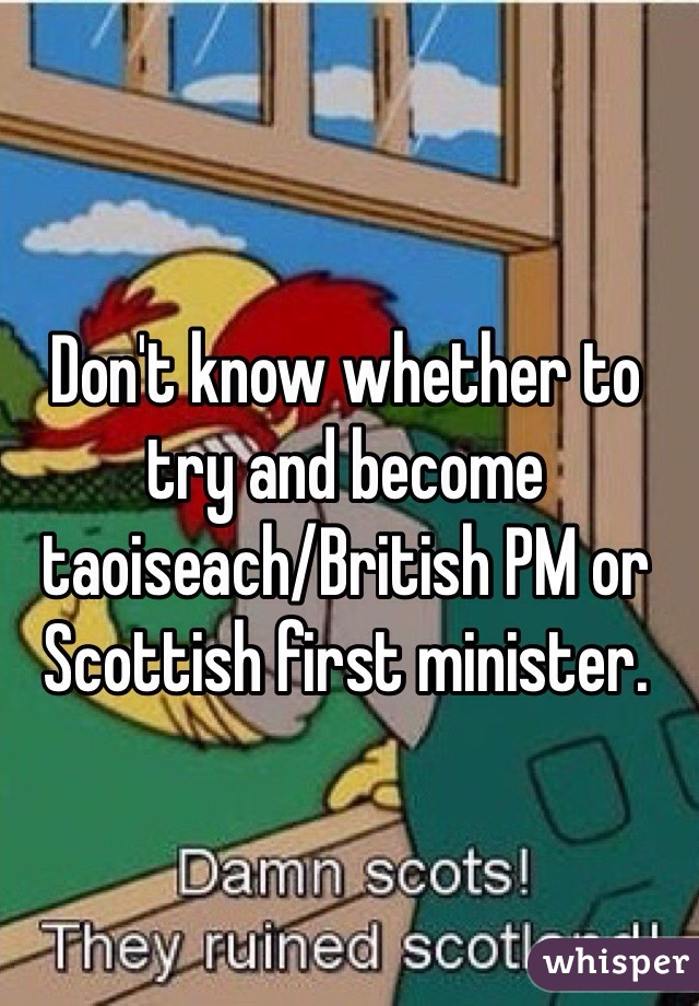Don't know whether to try and become taoiseach/British PM or Scottish first minister.