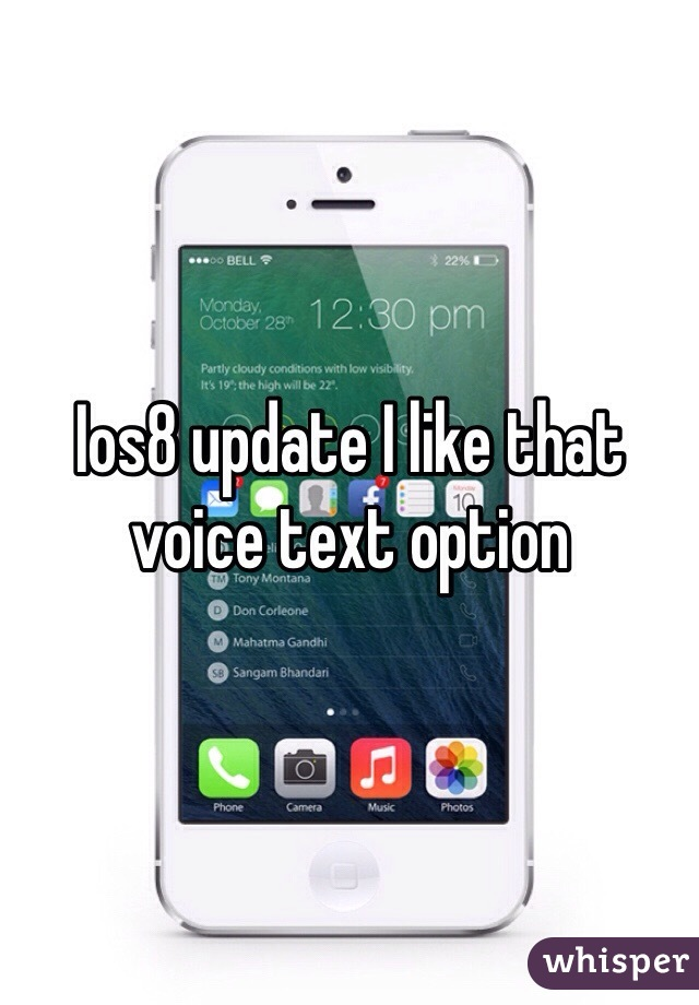 Ios8 update I like that voice text option