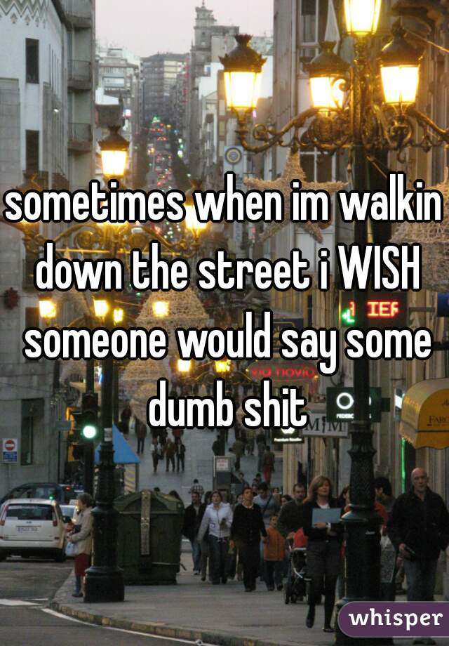 sometimes when im walkin down the street i WISH someone would say some dumb shit