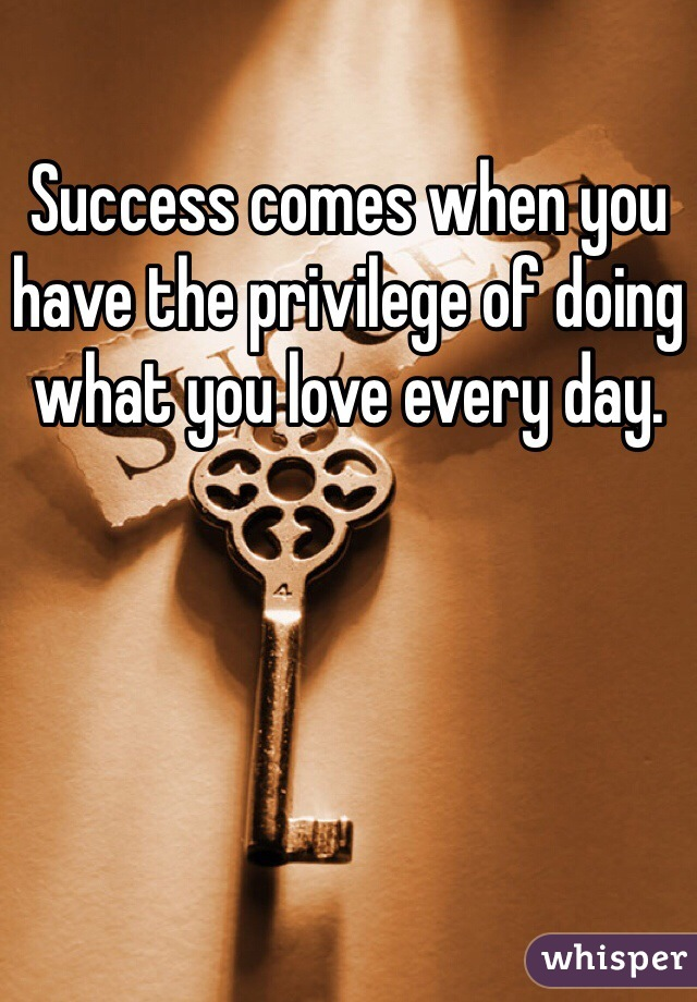 Success comes when you have the privilege of doing what you love every day.