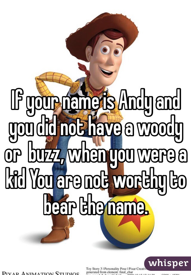 If your name is Andy and you did not have a woody or  buzz, when you were a kid You are not worthy to bear the name.