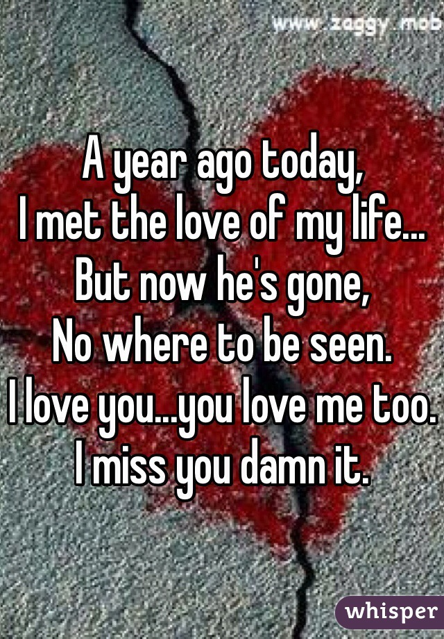 A year ago today,  I met the love of my life... But now he's gone, No where to be seen. I love you...you love me too. I miss you damn it.
