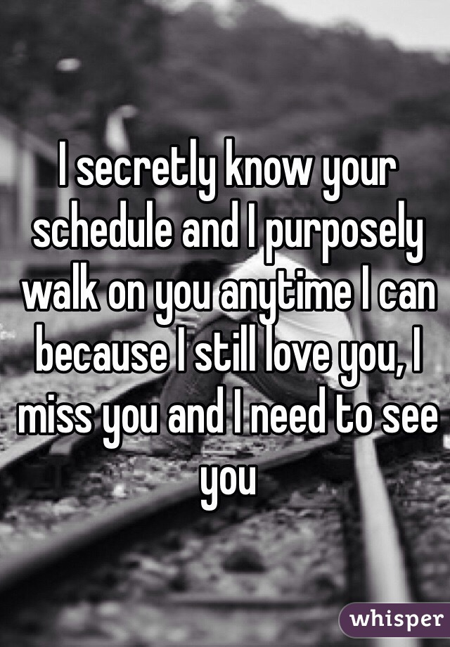 I secretly know your schedule and I purposely walk on you anytime I can because I still love you, I miss you and I need to see you