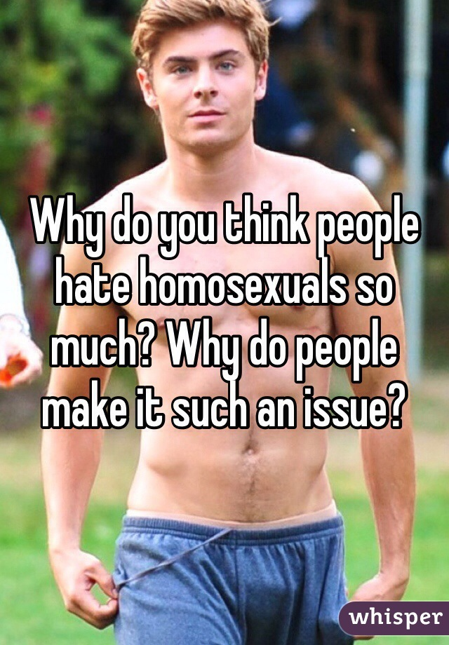 Why do you think people hate homosexuals so much? Why do people make it such an issue?