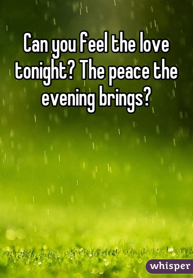 Can you feel the love tonight? The peace the evening brings?