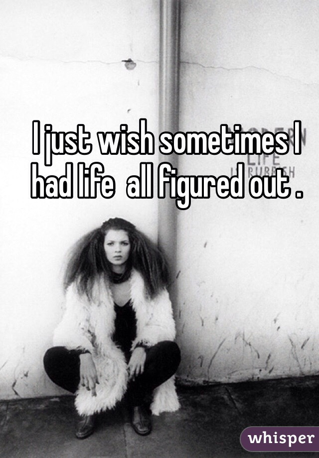 I just wish sometimes I had life  all figured out .
