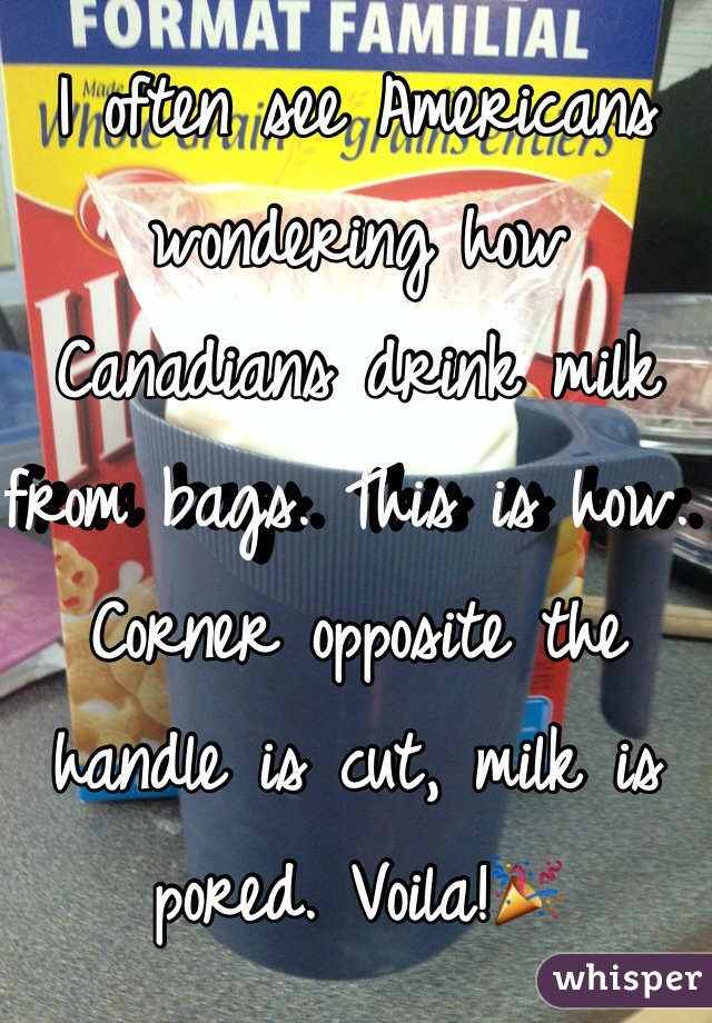 I often see Americans wondering how Canadians drink milk from bags. This is how. Corner opposite the handle is cut, milk is pored. Voila!🎉