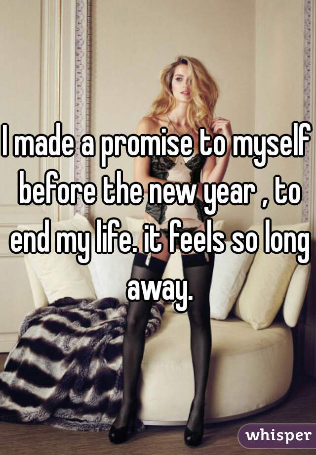 I made a promise to myself before the new year , to end my life. it feels so long away.
