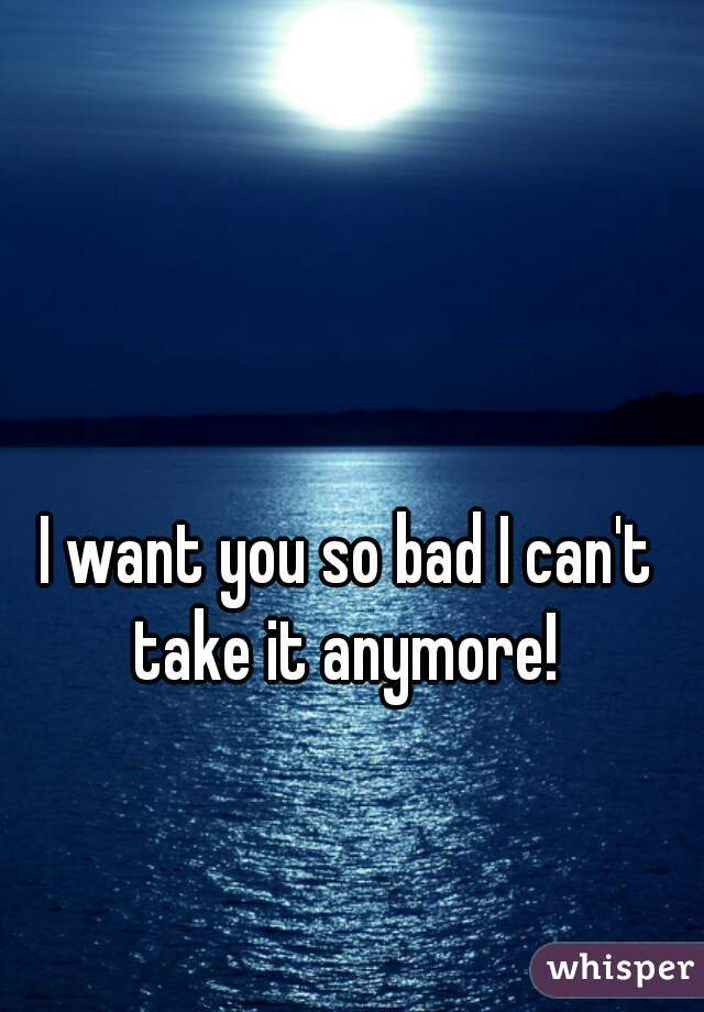 I want you so bad I can't take it anymore!