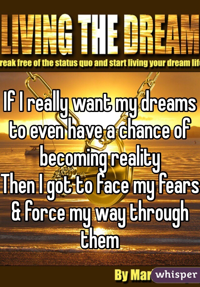 If I really want my dreams to even have a chance of becoming reality Then I got to face my fears & force my way through them