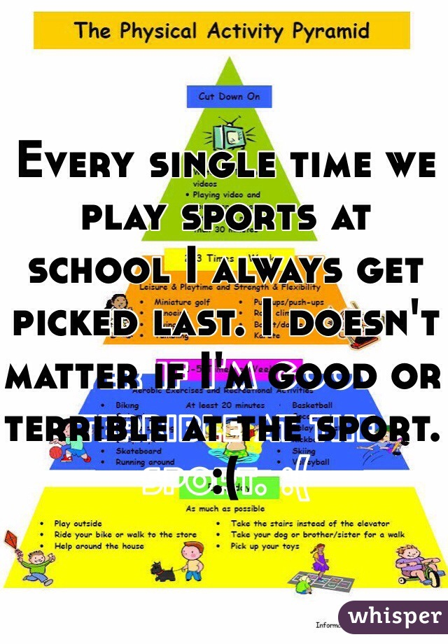 Every single time we play sports at school I always get picked last. I doesn't matter if I'm good or terrible at the sport. :(