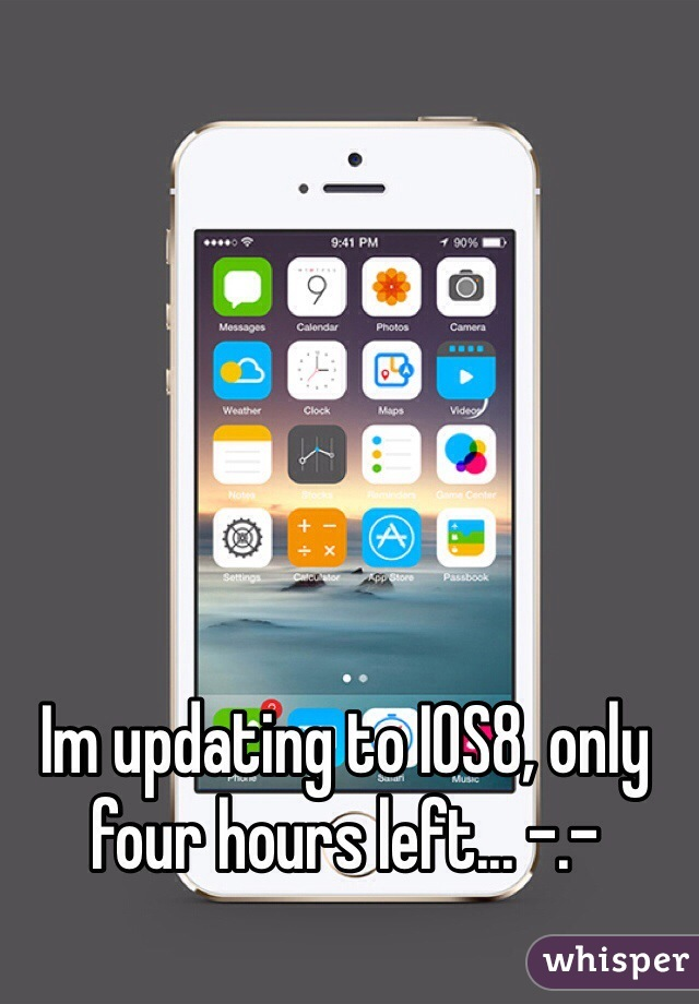 Im updating to IOS8, only four hours left... -.-