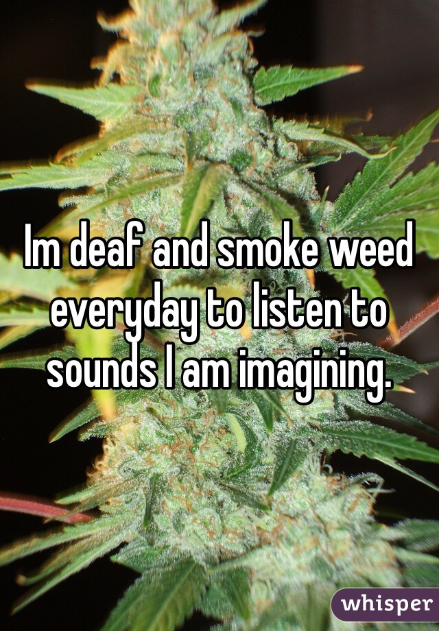 Im deaf and smoke weed everyday to listen to sounds I am imagining.