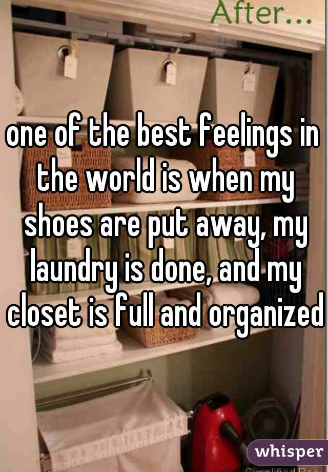 one of the best feelings in the world is when my shoes are put away, my laundry is done, and my closet is full and organized