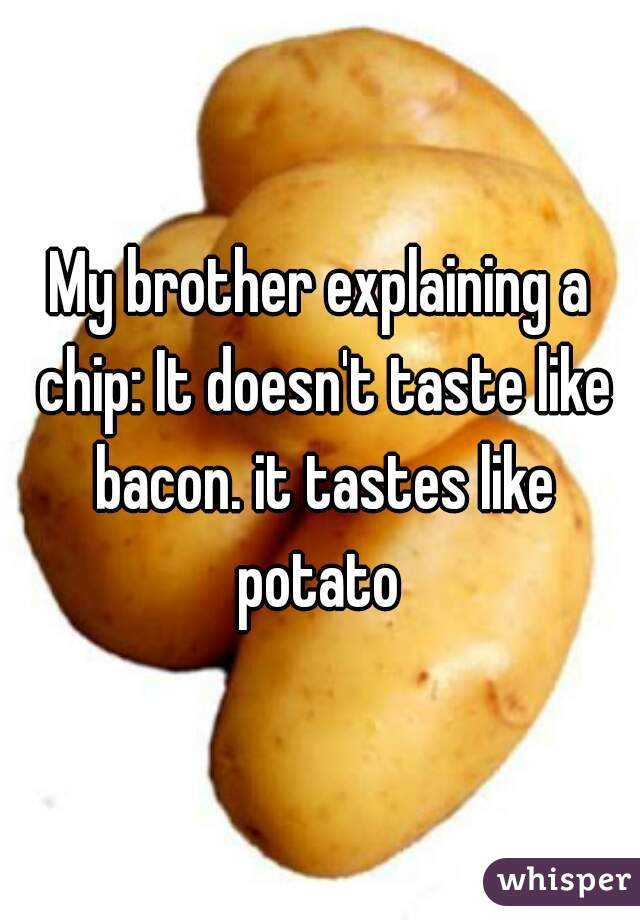 My brother explaining a chip: It doesn't taste like bacon. it tastes like potato